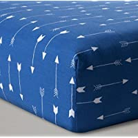 Fitted Baby Boy Crib Sheet Blue and White Arrow [並行輸入品]