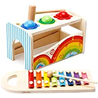 jerisam 2 in 1 Kids Toys Xylophone Glockenspiel Percussion Instrumentカラーメタルキー早期教育玩具幼児