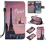 C-Super Mall-JP Apple iPhone 5 / 5S / SE ケース: 品質PUレザー財布フリップスタンドケース