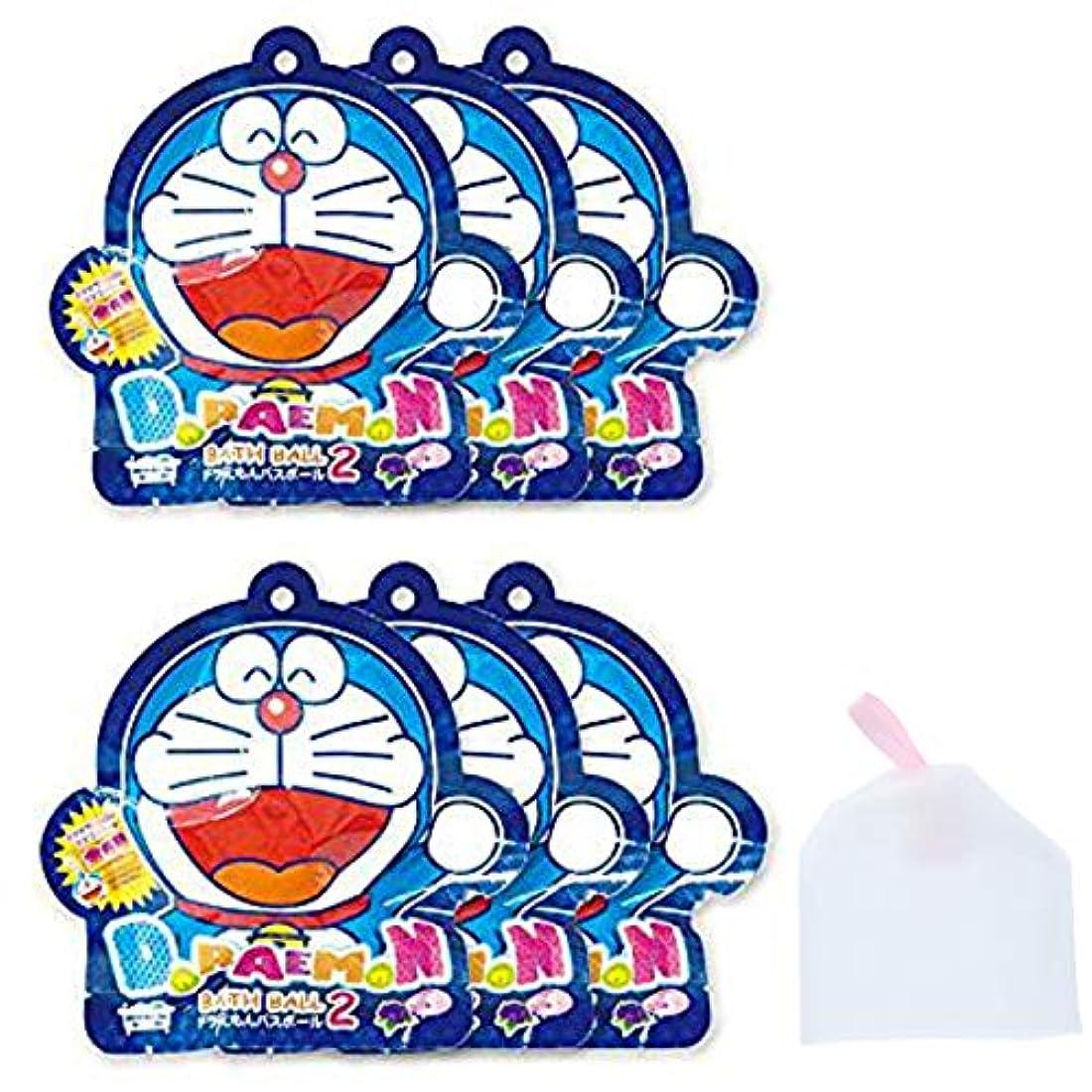グレード健康アジア人【6個セット+泡立てネット】ノルコーポレーション ドラえもん 入浴剤 バスボール2 ブルーベリーの香り OB-DOB-2-1【泡立てネット】