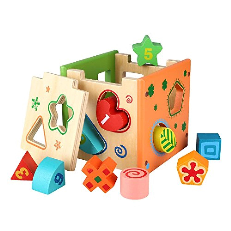 Peradix はめこみおもちゃ 形合わせ パズルボックス 知育玩具 カラー数字形状認知 プレゼント 2歳から 木製