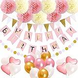 Happy Birthday Party バンティングバナー ドットペーパーガーランド 三角旗 誕生日パーティーデコレーション 8インチのピンクとクリームの誕生日ペーパーポン9個 12インチのバルーン17個 ハートと丸付き