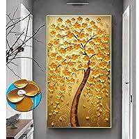 キャンバスウォールアートツリー風景油絵カラフルな秋の木現代の家の装飾ストレッチとフレームリビングルームダイニングルーム絵画,A,19.6and31.4