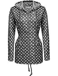 通気性のある ホワイト 波のポイント グレー 女性の レインコート フード付き 日焼け止め 防水 レインコート アウトドア レインコート (サイズ : XL)
