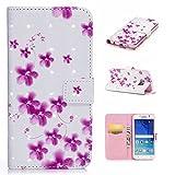 Galaxy S6 Edgeケース CUSKING ギャラクシS6エッジ 手帳ケース カード収納付き PUレザー アニメ かわいい 財布型 カバー ノート型 フリップ 保護ケース - ピンク, 花