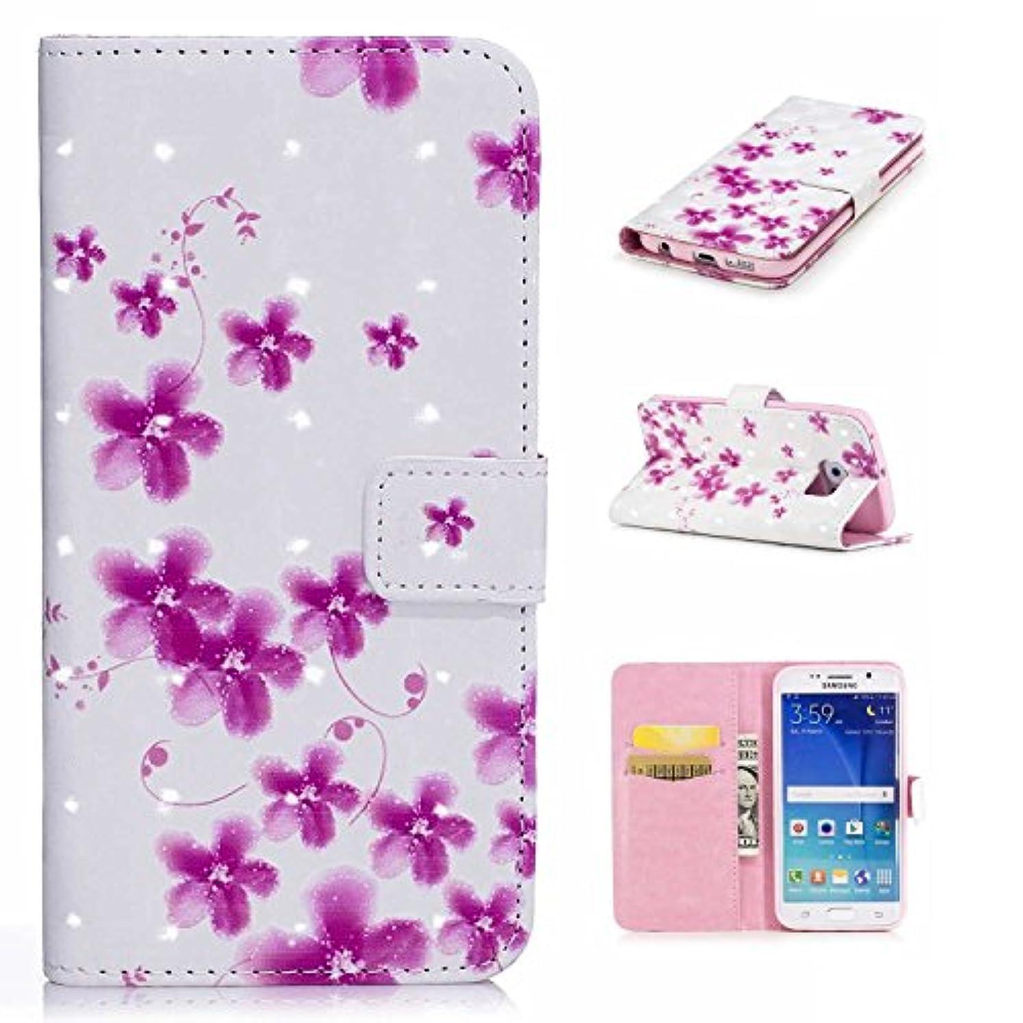 ピットローストマーカーGalaxy S6 Edgeケース CUSKING ギャラクシS6エッジ 手帳ケース カード収納付き PUレザー アニメ かわいい 財布型 カバー ノート型 フリップ 保護ケース - ピンク, 花