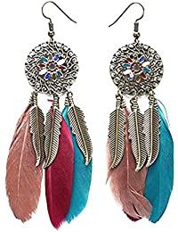 Jojckmen Women Girls Pierced Round Disc Tassel Flower Feather Earrings Alloy Long National Dangle Eardrop Accessory
