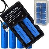 4本 18650電池 3.7V 3000mAh充電式リチウムイオン電池 USB電池充電器付き LED戦術懐中電灯/ヘッドランプ等に適用