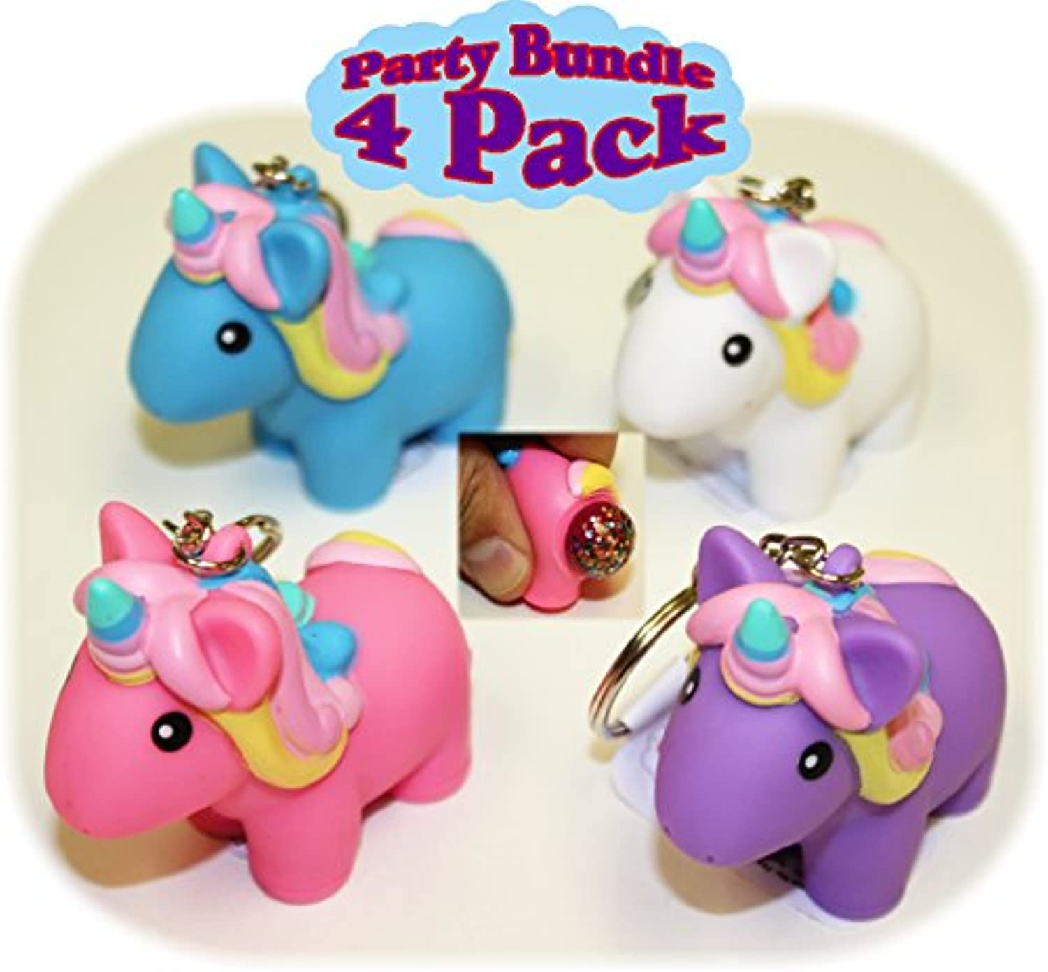 Animolds PooPoo Unicorn (Glitter Pooping Unicorns) Keychains Pink, Blue, Purple & White Complete Gift Set Party Bundle - 4 Pack