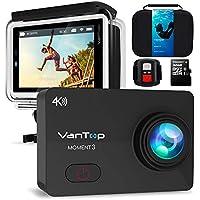 アクションカメラ4K VANTOP MOMENT 3 ウェアラブルカメラ 2.26インチLCD 1600万画素 WIFI搭載170度広角レンズ30M防水スポーツカメラHDMI出力.リモコン.32GB microSD日本語仕様書Goproと互換性のある豊富なアクセサリー付きドライブレコーダーとして使用可能