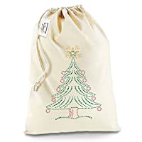 Xmas Christmas Tree Rhinestone White Santa Sack Christmas Stocking Gift Bag Large