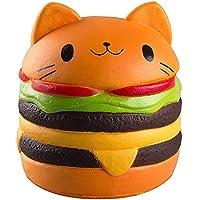 ジャンボSquishy Kawaii Catburgerクリーム香りつきSquishies Slow Rising Decompression Squeeze Toys ChildrenシミュレーションキュートCatburgerおもちゃハンバーガー(Cat)