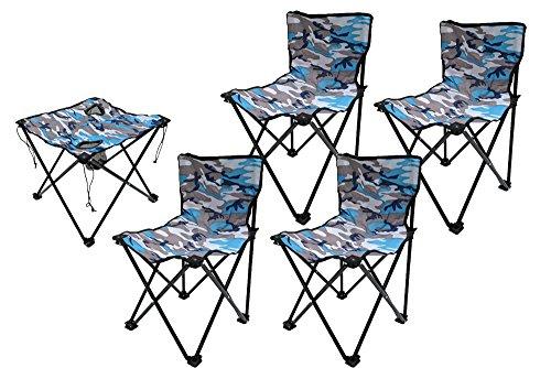 アウトドア BBQ 釣り 折りたたみテーブルX1個 折り畳み椅子X4個セット スカイカモ迷彩...