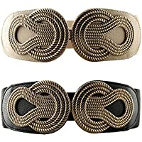 VOCHIC 2pcs Vintage Metal Interlock Buckle Wide Elastic Waist Belt Womens Basic Stretchy Cinch