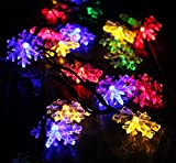 EloBeth多彩カラーストリングライト ソーラーLEDライト クリスマス、コンサート、結婚式など飾りイルミネーションライト ファーボール型、雪花型、ベル型、鹿型 20球4.8m/30球6.5m (6.5m(30球雪花型), マルチカラー)
