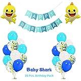 ベビーシャークバルーンとデコレーション| 23ピース誕生日パーティー用品パック | ピンクフォングバルーンパーティー男の子または女の子用
