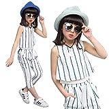 【ノーブランド品】ストライプ2点セットシャツ パンツ 女の子 子供用 キッズ 韓国子供服 二点セット 上下セット セットアップ パンツセット (140, ブルーストライプ)