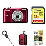 Nikon デジタルカメラ COOLPIX A10 レッド 光学5倍ズーム 1614万画素 乾電池タイプ A10RD + アクセサリー4点セット(SDカード 32GB、カ..