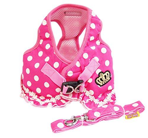 ピンク 可愛い ドット 柄 フリル 付 ハーネス 小型 の 犬 猫 カワイイ リード セット(L)