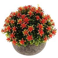 P Prettyia ミニプラント 人工植物 現実的 鉢植え 自然 美しさ ホーム デコレーション 全5色 - オレンジ