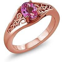 Gem Stone King 0.50カラット 天然 ミスティックトパーズ (ピンク) シルバー925 ピンクゴールドコーティング 指輪 リング