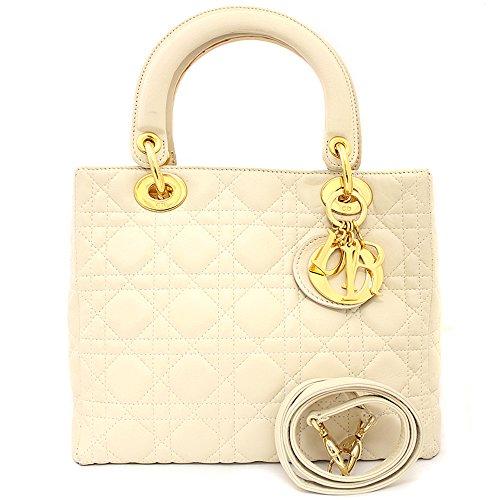 Christian Dior(クリスチャン ディオール) レディディオール 2WAY ハンドバッグ ショルダーバッグ カナージュ オフホワイト MA-0937(中古)
