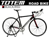 【超軽量9.9Kg】ロードバイク TOTEM 12B404 黒/赤 デュアルコントロール&超軽量アルミフレーム 700×50 ライト+鍵セット