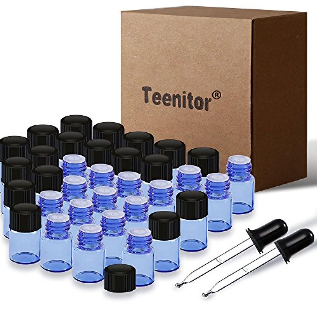 Teenitor 精油小分け 遮光瓶 2ml 36本セット 遮光ガラス瓶 スポイト付け 遮光ビン アロマ保存容器 アロマオイル瓶 香水瓶 化粧水瓶 青色