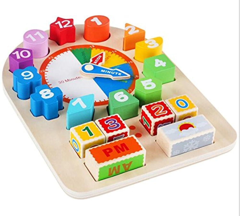 HuaQingPiJu-JP 多機能教育木製時計玩具アーリーラーニングタイムナンバーシェイプ子供のための色の動物の認知玩具