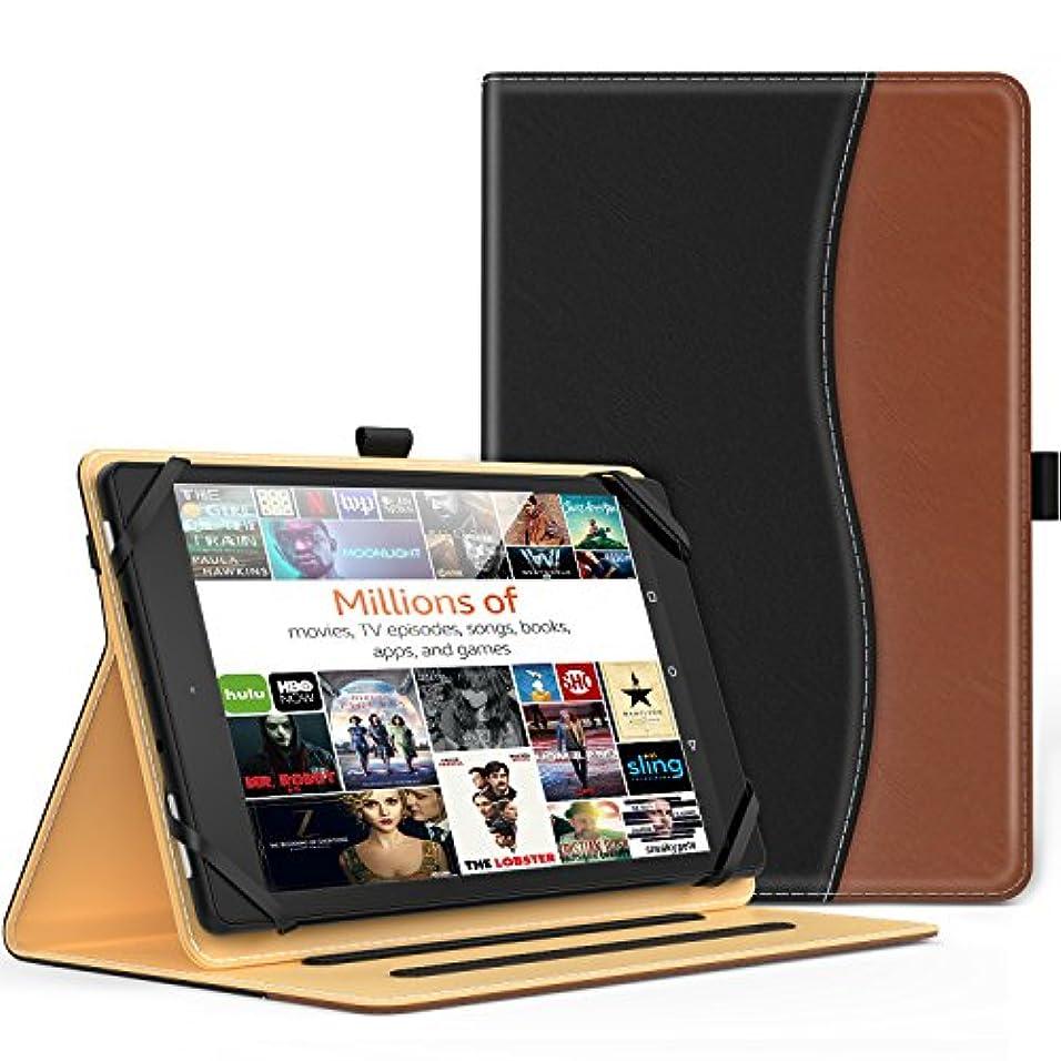 エール戸惑う広がり7-8インチタブレットケース - ATiC 7-8インチ タブレット 汎用 収納スロット付き 薄型 スタンドケース BLACK+ BROWN