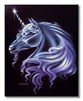 魔法ファンタジーユニコーンCloseup againstブラック背景壁絵アートプリント