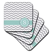 (set-of-4-Soft) - 3dRose cst_154238_1 Letter S Monogrammed on Grey and White Chevron with Mint Grey Zigzags Personal Initial Zig Zags Soft Coasters (Set of 4)