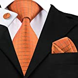 DiBanGu ネクタイ チェック柄 オレンジ ネクタイ チーフ セット ネクタイ ビジネス ブランド