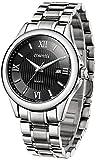 COMTEX 腕時計 ブラック ローマ字 カレンダー機能 ステンレス アナログ おしゃれ 防水 時計 メンズ
