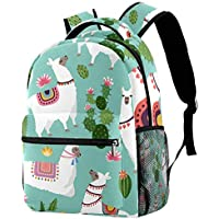 Backpack Cute Llama and Cactus School Bag Bookbag Hiking Travel Rucksack