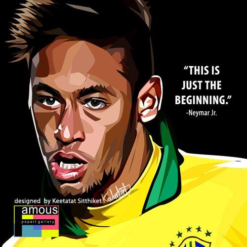 ネイマール ブラジル代表 海外サッカーグラフィックアートパネル 木製ポスター インテリア