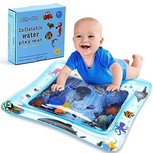 Asiso ウオーターマット ベビー 水遊び プレイマット 赤ちゃん プレイジム 水注入 ひんやり 暑さ対策 知育玩具 (ブルー)