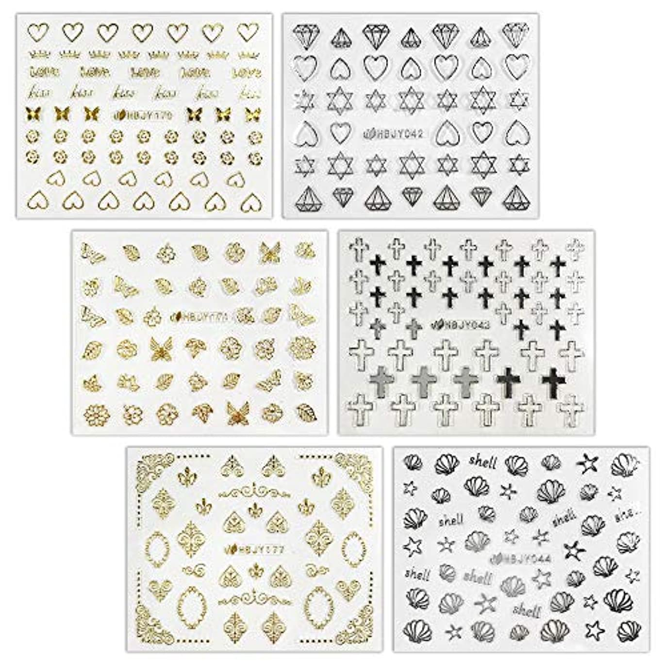 省略そうでなければ枕【リュミエラ】6枚セット レジン ネイル シールC【6種類各1枚 ゴールド?シルバー】 ハート バラ ダイヤ 十字架 etc. ネイルにも!
