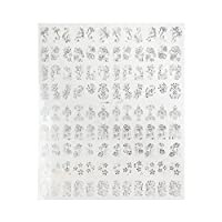 RaiFu ネイルシール 3D シルバー フラワー 花柄 ネイル アート ステッカー デカール ステッカー DIY デコレーションツール ネイル用シール・ステッカー 108 pcs