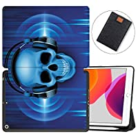 """MAITTAO iPad 10.2"""" 2019 Case with Apple Pencil Holder,Folio Stand Smart Cover Shockproof Soft TPU Back Shell For iPad 7th Generation 10.2 inch Tablet Sleeve Bag 2 in 1 Bundle,Abstract Skeleton 2"""