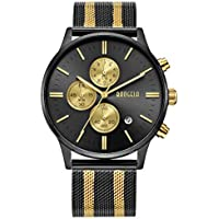 Mens Watch Waterproof, Analog Quartz Wrist Watches Gold and Black Stainless Steel Mesh Milanese Band, Chronograph Date - BAOGELA