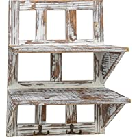 Rusoji素朴なスタイルTorched木製2 Tier Wall Mounted Hanging Organizerシェルフストレージラックメタルフック付き、ブラウン