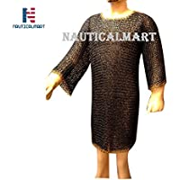 NAUTICALMART 9 mmラウンド座金チェーンメールHauberk with真鍮Edging Large Blackend