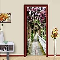 Xbwy 3Dステレオ花ギャラリー写真壁の壁画DiyのドアステッカーPvc自己接着防水リビングルームの家の装飾フレスコ画-250X175Cm