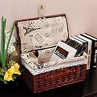 WTL かご?バスケット ポータブルストレージボックスラタンDesktopはバスケット衣類収納ボックス布を仕上げで覆われたピクニックバスケットアウトドア (色 : Dark Coffee, サイズ さいず : L l)
