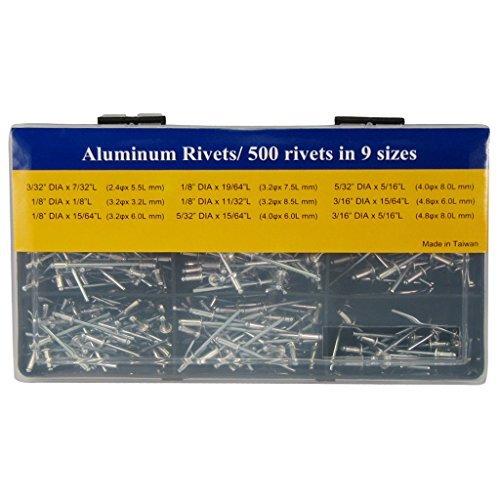 TOOLS Co., Ltd. FIRSTINFO 箱詰めのブラインドリベットセット アルミ 九つの常用サイズ付 500本付