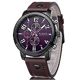 La bellezza CURREN クオーツ メンズ カジュアル 腕時計 レザーベルト クロノグラフ 大きな文字盤 デカウォッチ 30m 生活防水 013d (ブラックブラウン1)