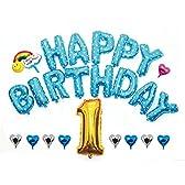 HAPPY BIRTHDAY お誕生日 アルミ バルーン セット ( 幼稚園 保育園 お家で )ハッピーバースデー 誕生日 飾りつけ 風船 二次会 ウエディング サプライズ 演出 で盛大にお祝いしよう♪ (02:ブルー バリューパック)