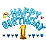 HAPPY BIRTHDAY お誕生日 アルミ バルーン セット ( 幼稚園 保育園 お家で )ハッピーバースデー 誕生日 飾りつけ 風船 二次会 ウエディング サプライズ 演出 で盛大にお祝いしよう? (02:ブルー バリューパック)