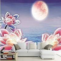 Xbwy 壁紙3 D美しいロータスムーン風景リビングルームテレビ装飾背景カスタム壁画壁紙-350X250Cm